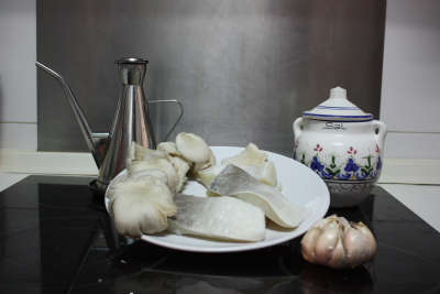 Ingredientes del bacalao con setas