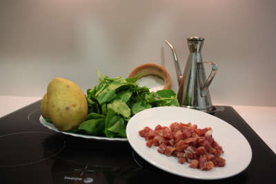 Ingredientes para el timbal de espinacas