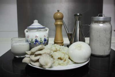 Ingredientes para coroquetas de bacalao y setas